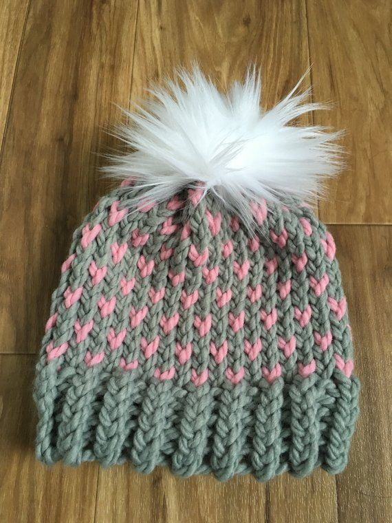 a87423e1e25 Grey and Pink Heart Toddle Hat with Faux Fur Pompom