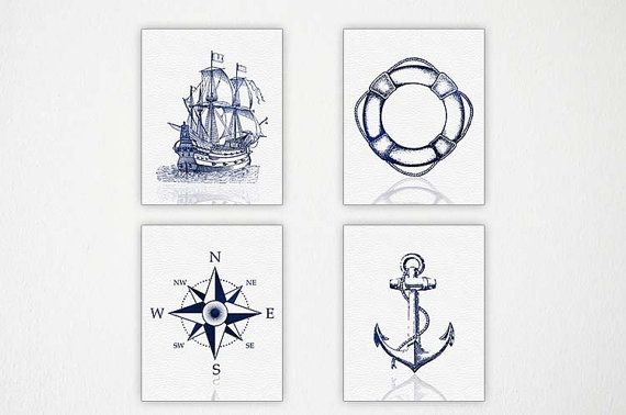 Nautical Wall Art, Sailboat, Life Ring, Compass Rose, Anchor Wall Art, Sailing Decor, Sailboat Set of 4 8x10 Prints, Nautical Decor on Etsy, $44.26 AUD