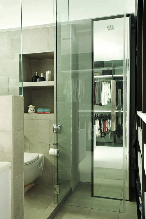 4 Room Hdb A Full Glass Door Separates The Bathroom From