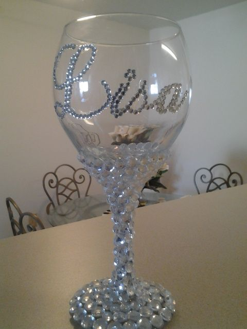 Personalized Rhinestone Wine Glass Wedding Diy Wine
