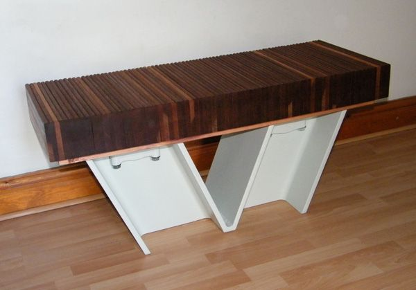 Bench made out of I-beams and wood