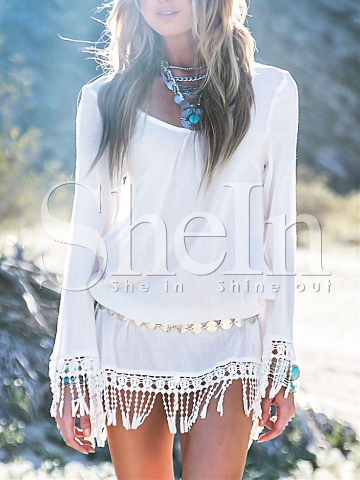 White Long Sleeve With Lace Tassel Dress 14.99