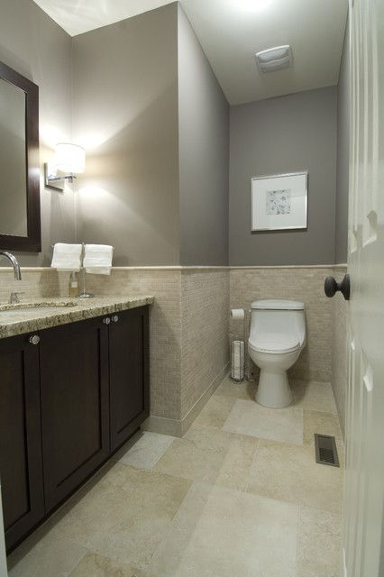 Best Bathroom With Grey Walls Beige Tile Espresso Cabinets 640 x 480