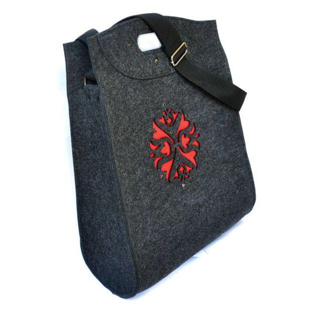 GiGant filcówka - antracyt z czerwonym wzorem