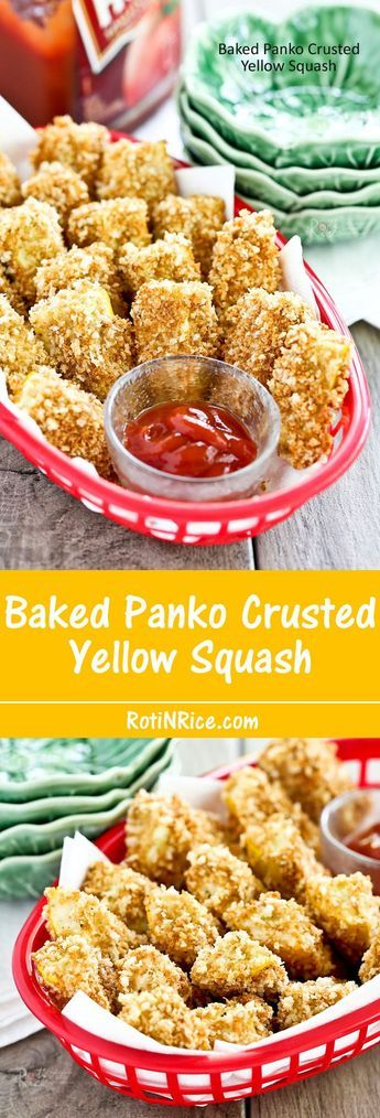 These Baked Panko Crusted Yellow Squash Fritters are a tasty alternative to french fries. Easy to prepare and wonderful as a snack or appetizer.   RotiNRice.com