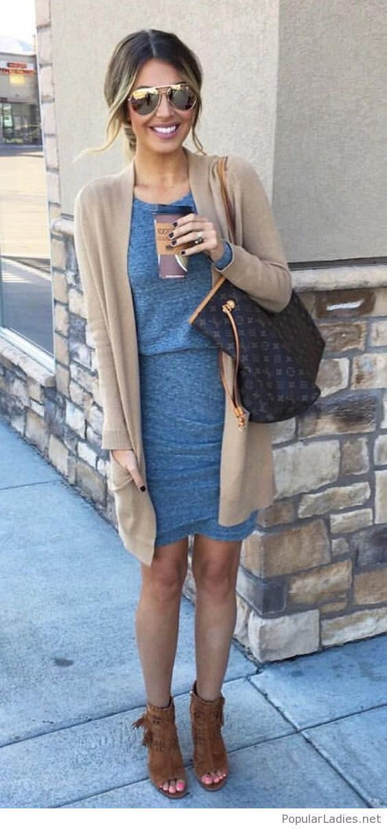 Grey dress with nude cardigan. Perfect Business Casual for work. These combinati…