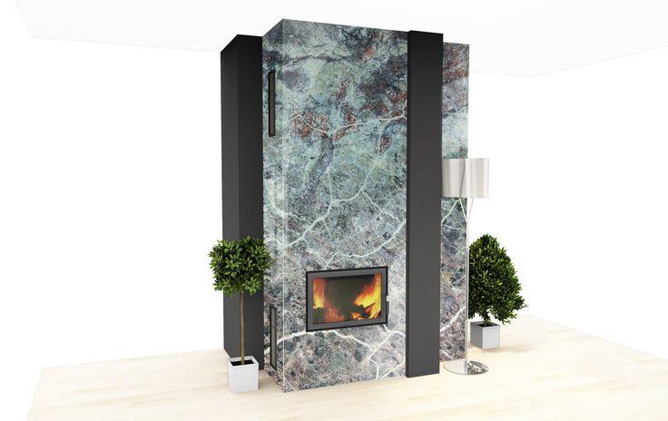 Imitacja kamienia naturalnego ? Żaden problem - przynajmniej w Opusglass. Panele ze szkła (hartowanego) laminowanego z grafiką cechuje odporność na wysoką temperaturę. A co również ważne. Kominki ozdobione tą metodą są o wiele łatwiejsze w utrzymaniu w czystości niż te wykonane z kamienia.