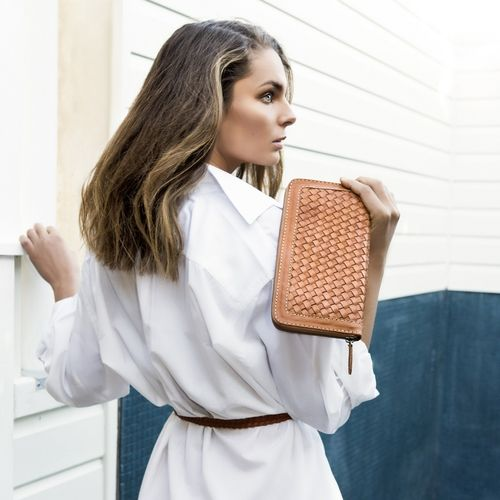 California Clutch Tan and Weave Leather Belt