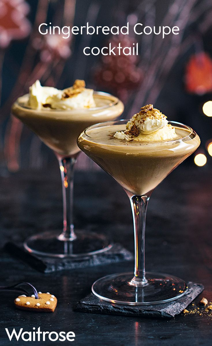Love gingerbread? Try the Waitrose recipe for Gingerbread Coupe cocktail topped with whipped cream and crumbled gingerbread biscuits.