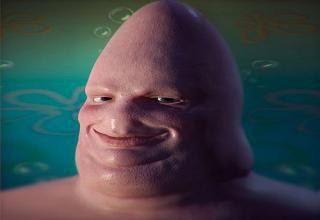 A realistic drawing of Patrick Star from Spongebob Squarepants. Creepy.