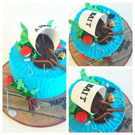 Fishing worm cake- Landen's birthday cake one year!