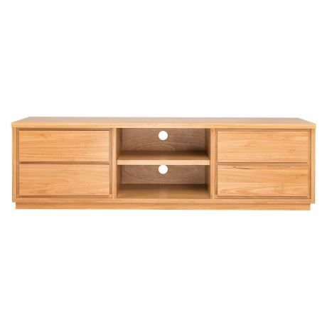 Set your TV on this solidly crafted entertainment unit. Its deep drawers and shelves give you plenty of space to store and display your electronics and accessories. Keep your cords organised with its handy keyholes, so all you have to worry about is choosing your next movie.
