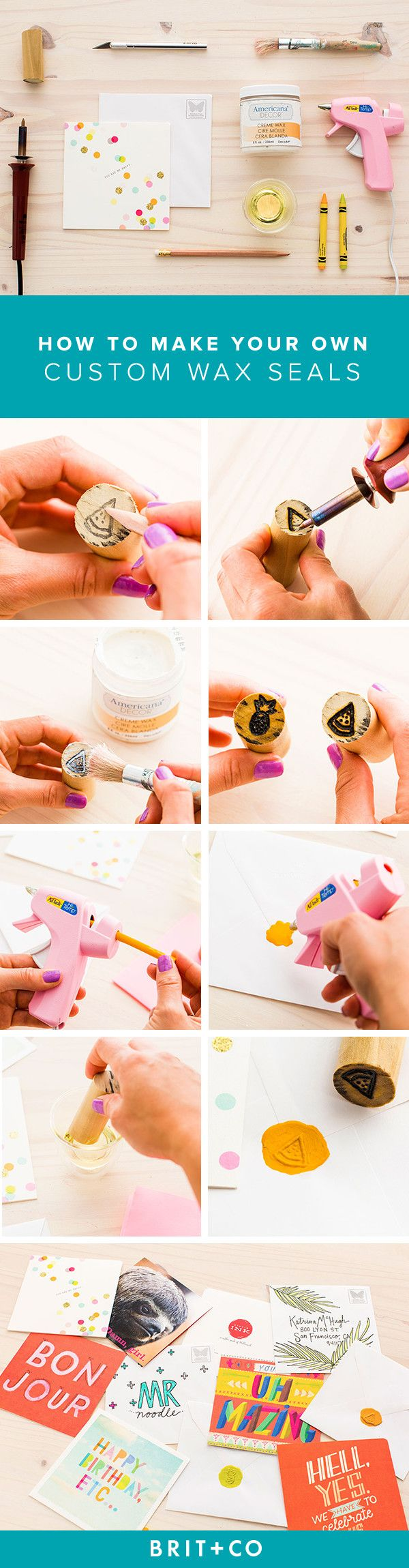 Using crayons, a pencil, a wood-burning tool, a hot glue gun, X-ACTO knife and paint brush, you can make your own custom wax seals. There's no better way to seal up your snail mail!