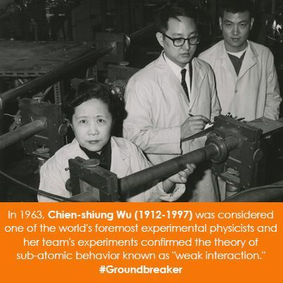 "Women in Science Wednesday!  In 1963, Chien-shiung Wu (1912-1997 was considered one of the world's foremost experimental physicists and her team's experiments confirmed the theory of sub-atomic behavior known as ""weak interaction."" #Groundbreaker"