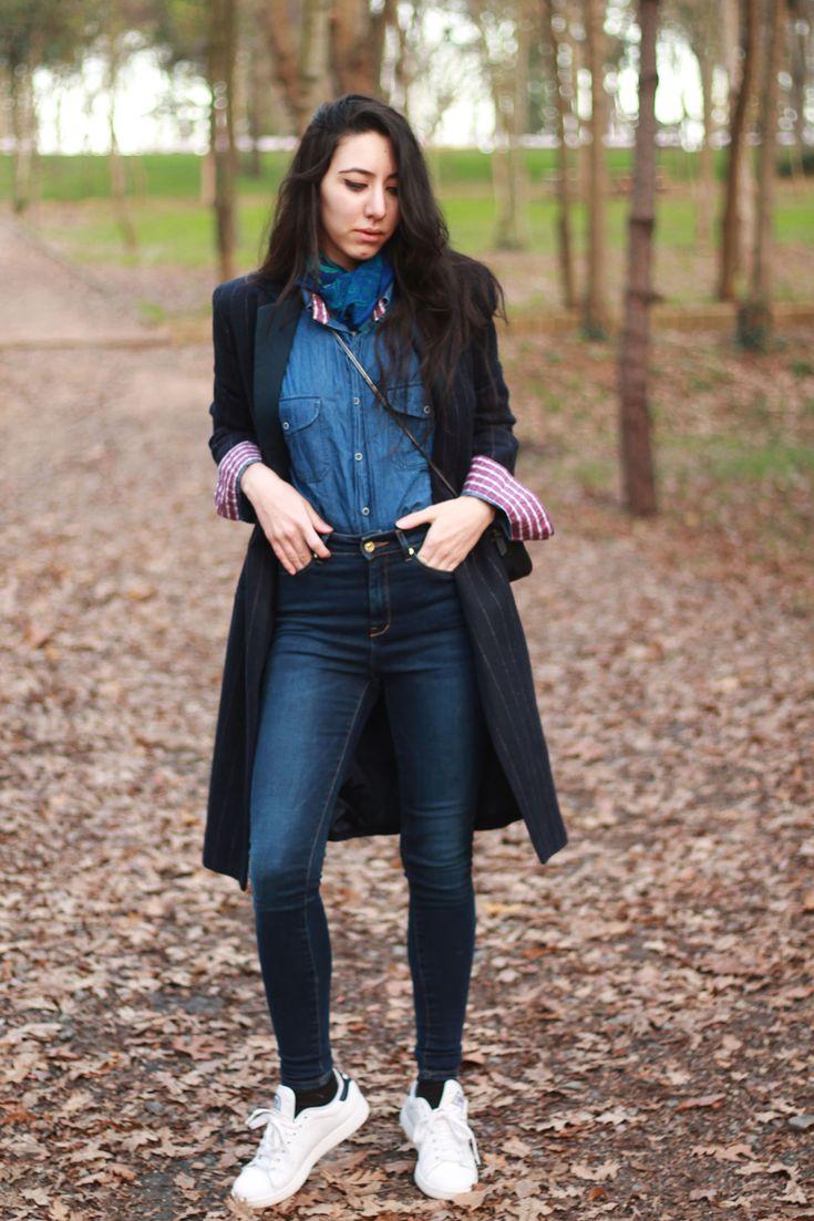 Black dress jean shirt - Women S Black Vertical Striped Coat Blue Denim Shirt Navy Skinny Jeans White Low Top Sneakers Blue Denim Shirt And Paisley Scarves