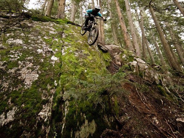 Freeriding Whistler Mountain Bike Park, British Columbia, Canada (Photograph by Robin O'Neill).