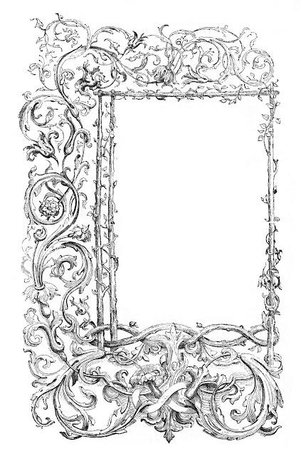 Vintage Clip Art - Faux Bois Frames with Scrolls