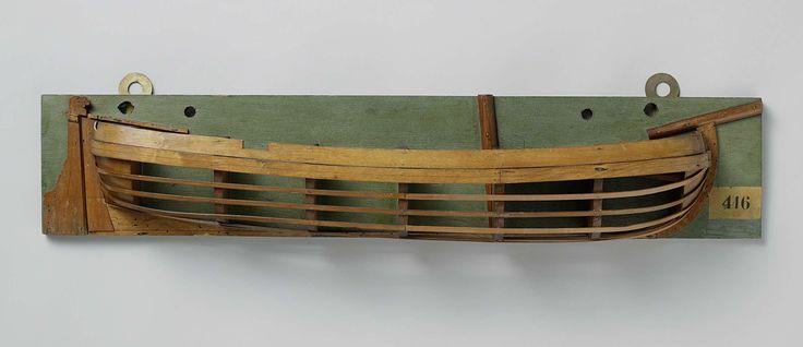 Anonymous | Halfmodel van een gaffelkanonneerboot, Anonymous, 1780 - 1820 | Mallenmodel (stuurboord) van een eenmast platbodem. De huid boven het barkhout is gesloten; één geschutpoort in de boeg, één op het achterdek. Het voordek is gesloten en heeft een aflopend gedeelte voor het geschut. Rond achterschip, breed roer met helmstok over dek. De zeeg loopt naar voren en achter op, één barkhout. Deze gaffelkanonneerboot had twee stukken voorop en twee in de zijden.