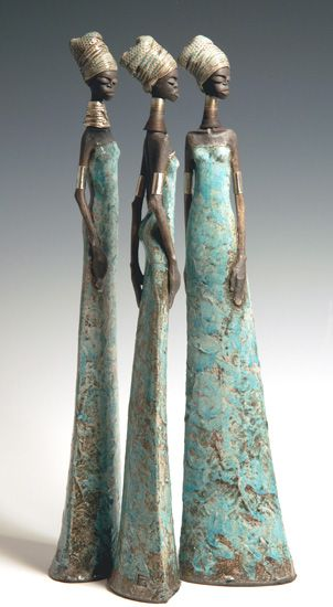 Tony Foard: DAILY MUSE: Describes himself as an English potter, hand builds each female figure using white clay. Each sculpture is fired several times in sections and they all have a distinctively African feel to them. The color often comes from controlling the way the smoke penetrates the surfaces, in addition to glazes and lustres. His goal is for each slender figure to have 'Attitude'.