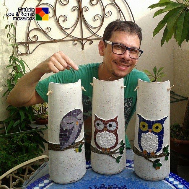 Corujas em mosaico - Telhas e Prato