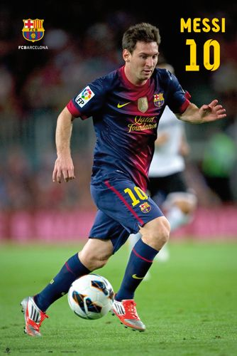 Lionel Messi CONCENTRATION FC Barcelona Soccer Action Poster (2012/13) - G.E. (Spain)