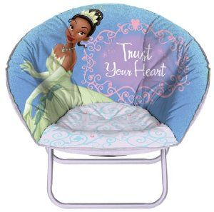 Princess and the Frog Mini Saucer Chair by Idea Nuova. $16.00. Feature your childs favorite Disney Fairies Characters. Extra padding and super soft so your child is always comfy!. Perfect kids chair for lounging around, watching TV, relaxing and more!. Fold flat for easy storing!. From the Manufacturer                You child will love this Disney Princess and the Frog Mini Saucer Chair and is PERFECT for lounging around, watching her favorite Disney characters relaxing and...