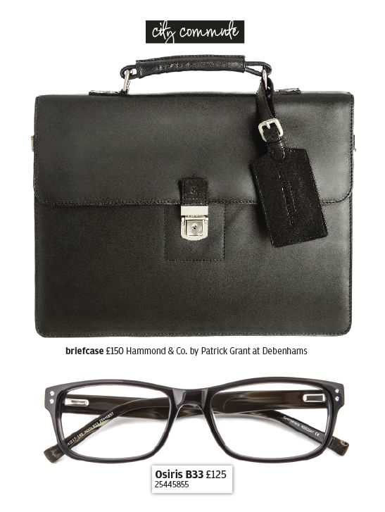 Classic, black glasses with a stylish briefcase make for a slick, city look.