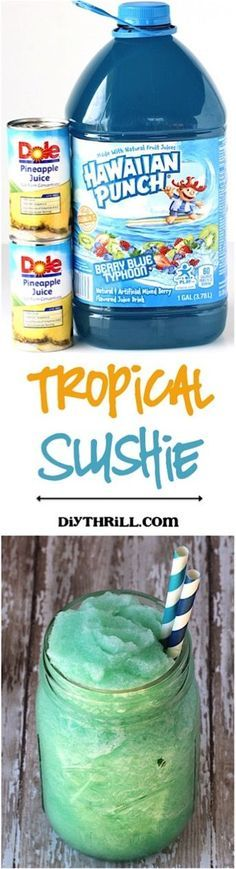 Easy Tropical Slush Recipe! This Slushie is just 3 ingredients and crazy delicious... the perfect way to cool down on a hot day!