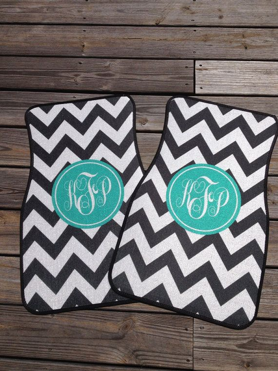 Chevron Car Mats, Personalized  / Monogrammed Car Mats on Etsy, $75.00 Cool way to make your car preppy.
