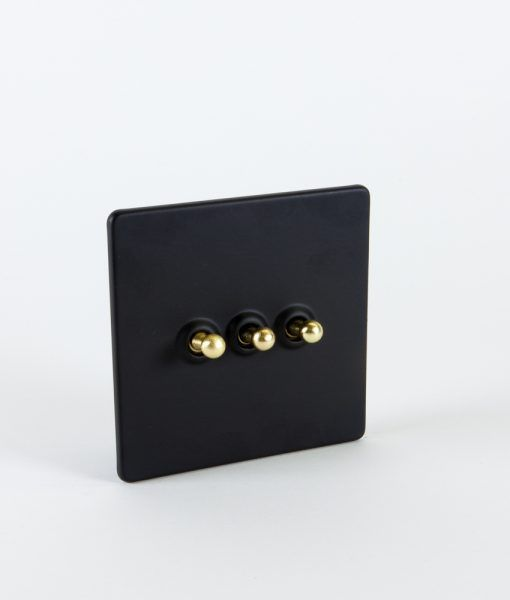 Toggle Light Switch 3 Toggle Black & Gold Designer Switch