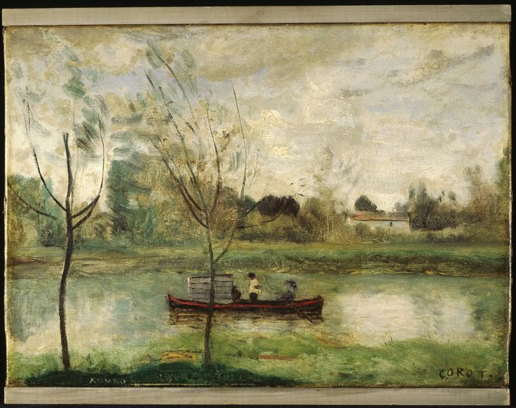 """Jean Baptiste Camille Corot (1796-1875), Daubigny working on his """"Botin"""" near Auvers-sur-Oise, 1860 Oil on canvas 24.3 x 34 cm (9 9/16 x 13 3/8 in.) frame: 41 × 50 cm (16 1/8 × 19 11/16 in.) Gift of Harry A. Brooks, Class of 1935, and Mrs. Brooks 1997-492 Princeton University Art Museum"""
