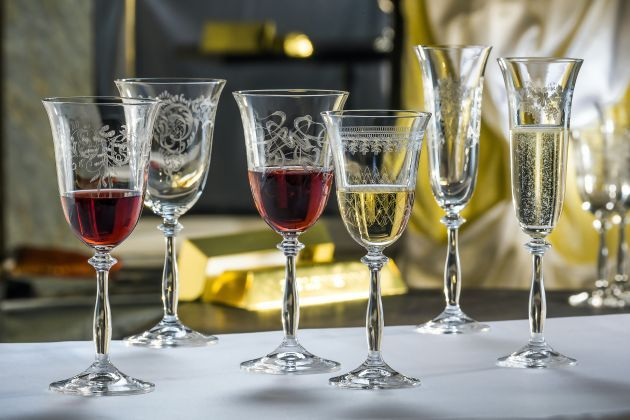 They are finally here!  The Newest Bohemia Crystal Glass, the Angela Royal features six crystal wine glasses, each etched with a different, elegant design.
