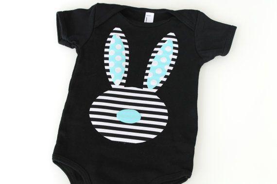 Easter Stripe Bunny Black and White Blue Boy Onesie by BmodDesigns, $22.00