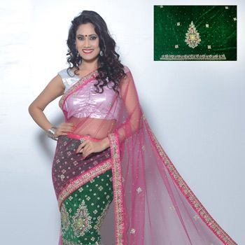 Pink and Green Velvet and Net Lehenga Style Saree with Blouse