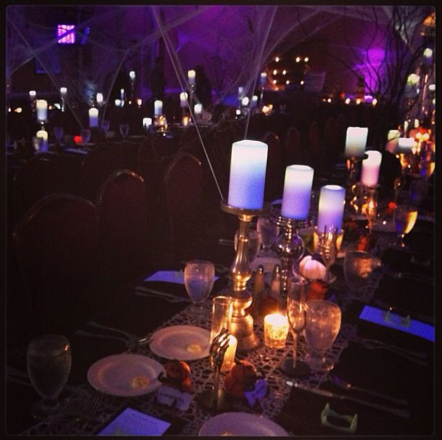 For Our Halloween Wedding Reception Decor We Used Black Lights And Purple Up Lighting Along With Spiderwebs From Ceiling To Floor I Knew Wante
