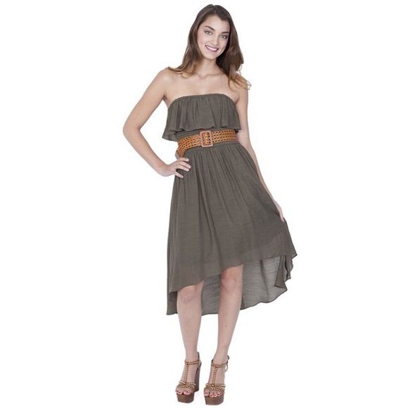 high low dress army green high low dress with brown belt