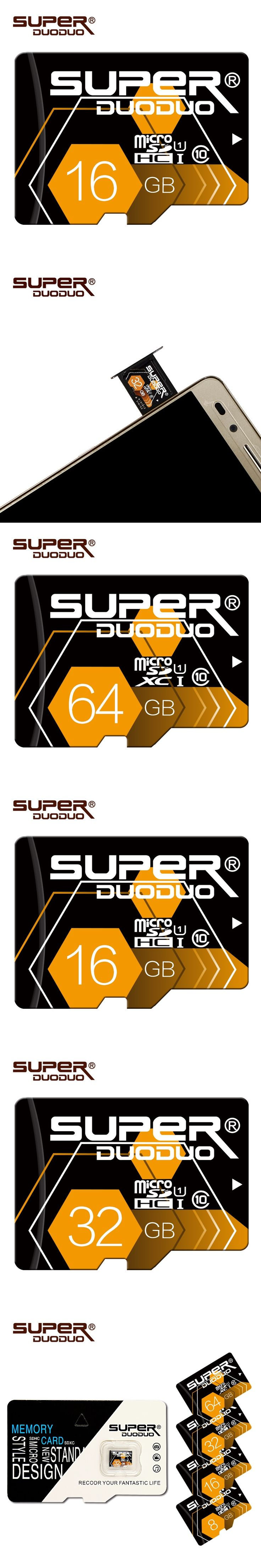 Superduoduo memory Card high speed 32GB Micro Sd Card 64GB Flash card 16GB 8GB 4GB Microsd cartao de memoria with retail package