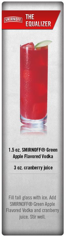 Enjoy the perfect balance of flavors with The Equalizer. Fill a glass with ice. Add Smirnoff Green Apple Flavored Vodka and Cranberry Juice. Stir well and take sip. #Smirnoff #drink #recipe