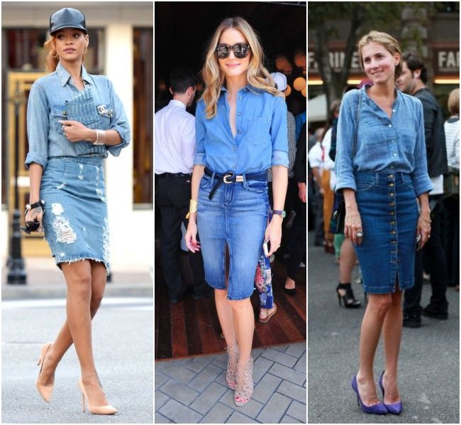 Denim on denim, shirt and skirt. I prefer the outfit in the middle bcause I love the blue of her shirt