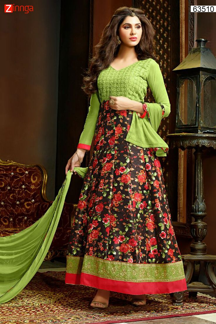 Anarkali Style Brown & Green with Butta Work Incredible Unstitched Salwar Kameez. Message/call/WhatsApp at +91-9246261661 or Visit www.zinnga.com