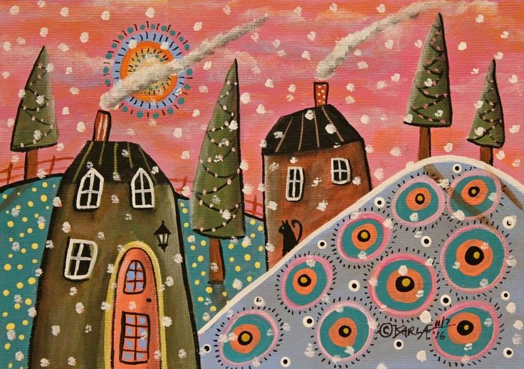 Cottages In Snow ORIGINAL Canvas Panel PAINTING Folk Art 5 x 7 Karla Gerard #FolkArtAbstractPrimitive