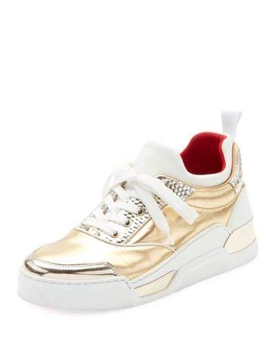 91d8162ab3d43 X49XK Christian Louboutin Aurelien Women s Multimedia Metallic Low-Top  Sneakers