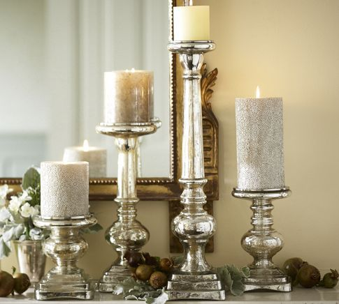 I just bought some hideous brass candle holders at goodwill that I'm going to paint to look like these from Pottery Barn.