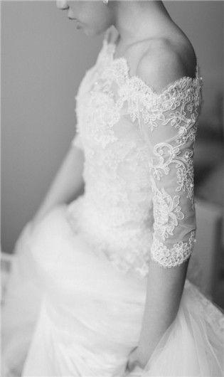 Off the shoulder three quarter sleeve vintage lace wedding dress. I love it! | pleasureweddingz.compleasureweddingz.com