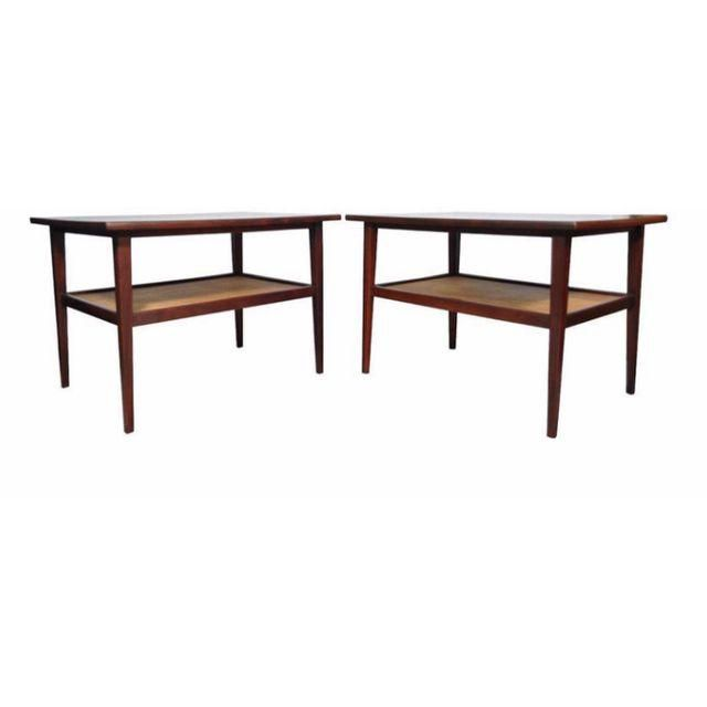 Vintage Pair Mid Century Modern Cane Walnut Laminate Foster Mcdavid End Tables Coffee Table Furniture Table