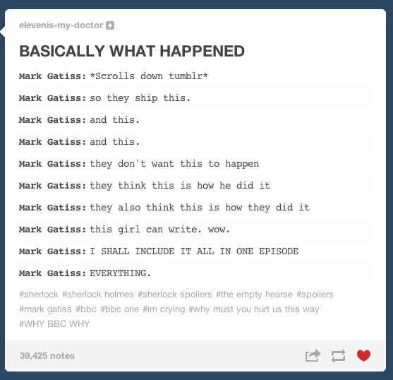 """Tumblr Reacts To The """"Sherlock"""" Season 3 Premiere. I love how it was basically one giant fanfic!"""