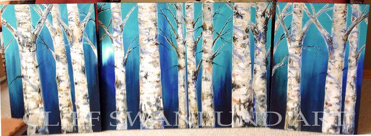 "Tri Panel Birch Trees Blue - 24"" X 36"", 36"" X 48"", 24"" X 36"" - SOLD"