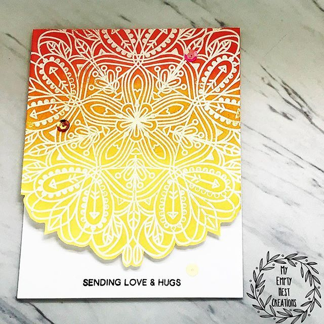 2 Feb 2018   My Empty Nest Creations   I started with Simon Says Stamp's Emma Background. I white heat embossed it onto front side of A2 top folding card base & ink blended it with Candied Apple, Spiced Marmalade & Fossilized Amber Distress Oxides. They just blend so smoothly & don't leave any kind of harsh lines or marks. They are definitely easier to blend than the traditional Distress Inks. To emphasize the beautiful stamp image, I lightly wiped away any ink sitting on top of embossing.