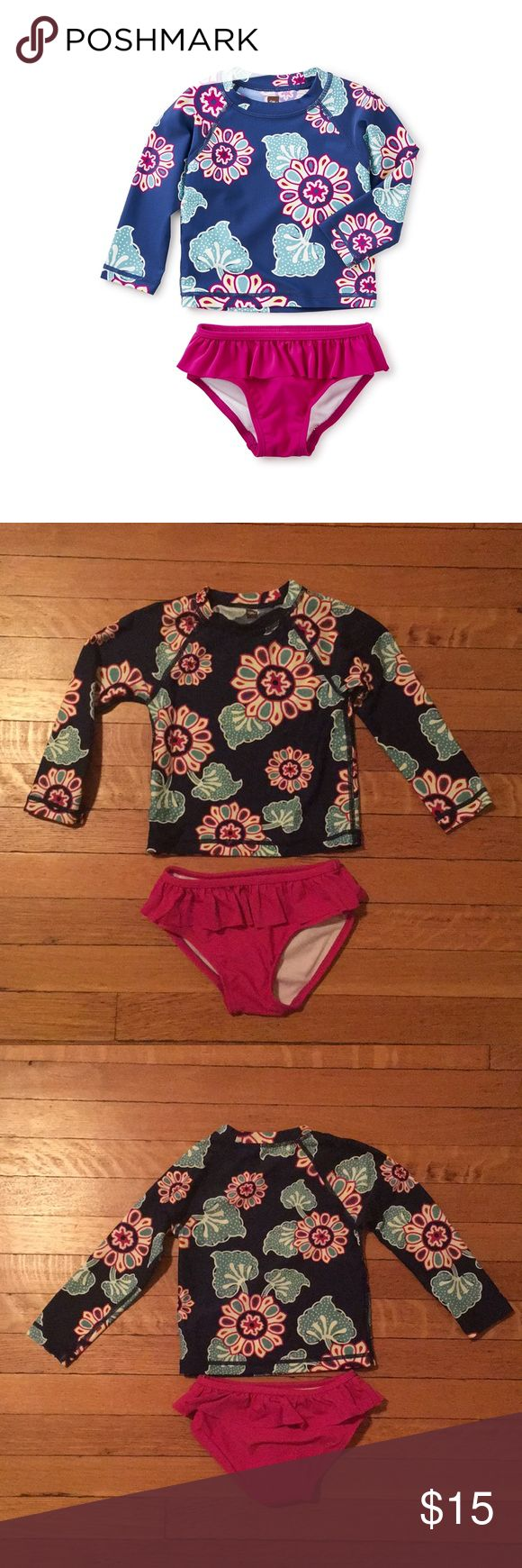 Tea collection wando rash guard set Excellent used condition.  No flaws.  Absolutely adorable and protects your little one from the sun! Tea Collection Swim Rashguards
