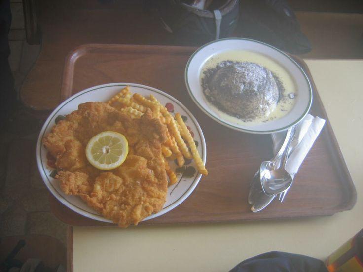 """Typical Austrian """"ski meal"""". /Wiener Schnitzel und Germknödel./"""